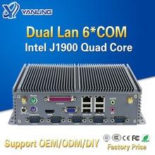 Yanling computador de baixa potência mini itx intel celeron j1900 quad core duplo lan barebones fanless industrial pc com porta paralela