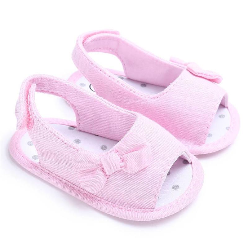 Été fille infantile sandales mignon nœud papillon anti-dérapant coton semelle 0-2 ans enfant en bas âge bébé premiers marcheurs fête cadeau princesse chaussures