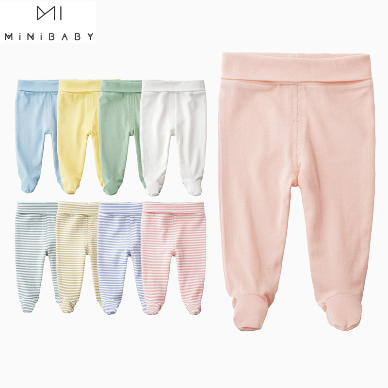 Newborn Baby Pants Unisex Organic Cotton Legged High Waist Belly Care Baby Girl Pant Boys Trousers Causual Long Newborn Trousers