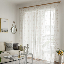 Modern White Sheer Curtains For Living Room Bedroom Window Embroidered Tulle Kitchen Door Voile