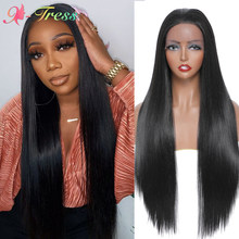 X-TRESS Long Straight Lace Front Wig Ombre Synthetic Wigs For Black Women Soft Natural Black Free Part Lace Wig Heat Resistant