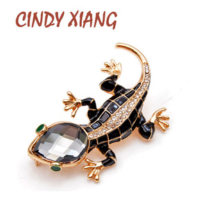 CINDY XIANG Crystal Lizard Brooches for Women Cute Fashion Animal Pins Summer Style Shining Jewelry Kids Accessories Good Gift(China)