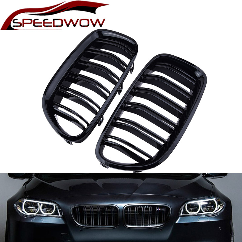 SPEEDWOW Front Grill Grille Gloss Black Kidney Sport For <font><b>BMW</b></font> F10 F18 F02 <font><b>F11</b></font> M5 10-15 Dual Slat image