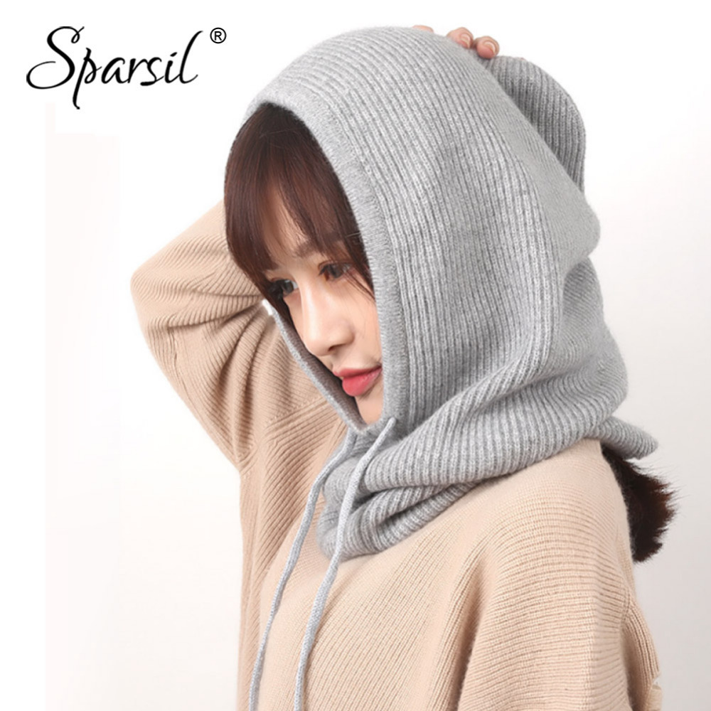 Sparsil Unisex Winter Cashmere Knitted Hooded Collar Removeable Elastic Hat Men&Women Warm Thick Wool Neck Wrap Drawstring CapsMens Skullies & Beanies   -