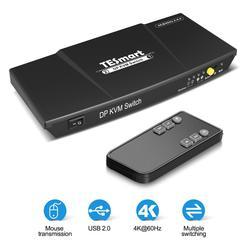 TESmart 2-Port ديسبلايبورت مفتاح ماكينة افتراضية معتمدة على النواة دعم 3840*2160 @ 60Hz EDID USB الأجهزة