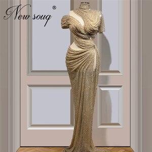 Image 1 - Robe De Soiree Arabic Formal Dress Lovely Glitter Champagne Dresses Dubai Long Woman Evening Dress Vestidos 2020 Prom Gown Aibye