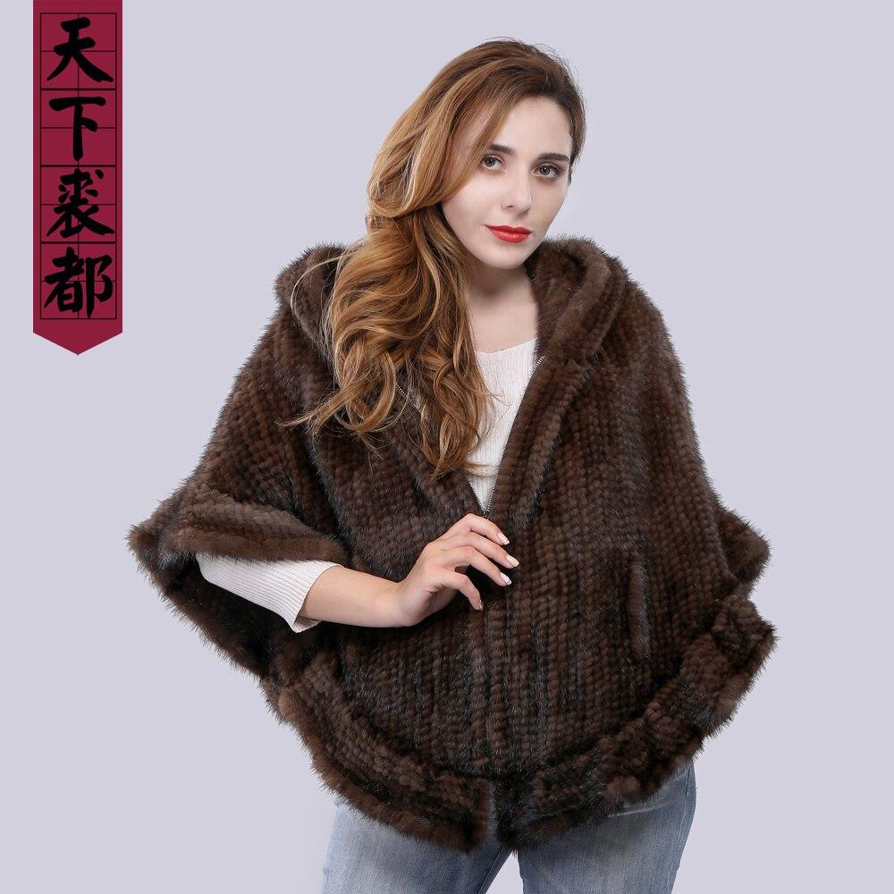 Nouveauté mode femmes fourrure châle hiver tricoté réel vison fourrure étole avec capuche en fourrure tricoté vison Poncho Pashmina