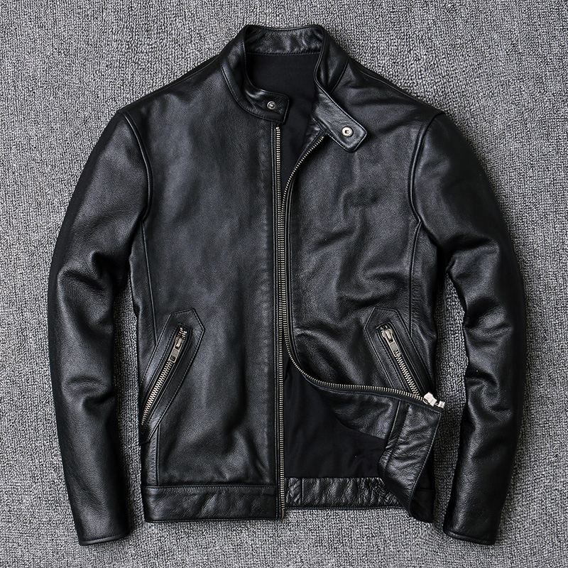 100% Cowhide Jackets Men Large Size 4XL Luxury Genuine Real Cow Leather Jacket Men Motorcycle Black High Quality Slim Short Coat
