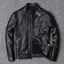 100% Cowhide Jackets Men Large Size 4XL Luxury Genuine Real Cow Leather