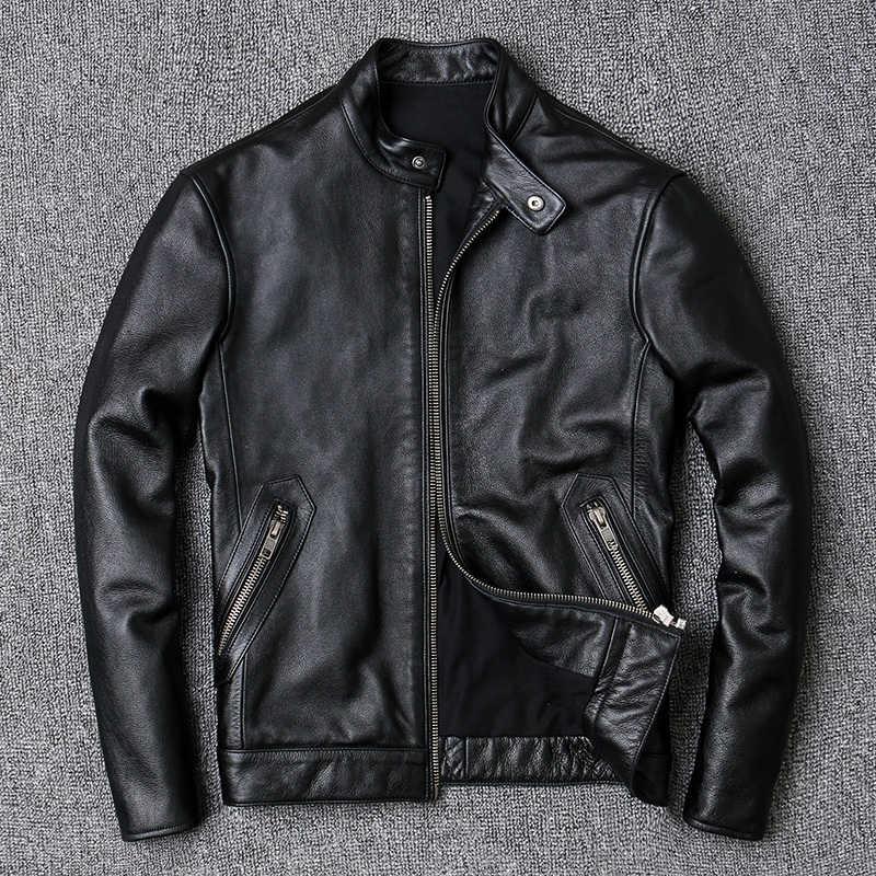 100% Koeienhuid Jassen Mannen Grote Maat 4XL Luxe Echte Echte Koe Lederen Jas Mannen Motorfiets Zwarte Hoge Kwaliteit Slanke Korte jas