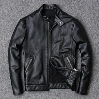 100% Cowhide Jackets Men Large Size 4XL Luxury Genuine Real Cow Leather Jacket Men Motorcycle Black High Quality Slim Short Coat