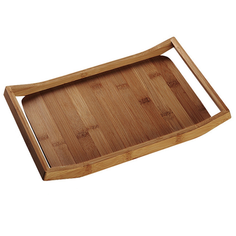 Bamboo Tea Tray Cup Plate Food Dessert Serving Tray With Two Handle Traditional Elegant Chinese Style Tea Table Storage Trays     - title=