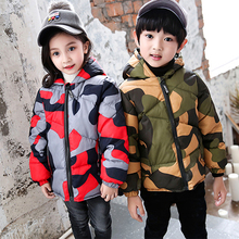 купить 2019 Baby Boys Winter Jackets Camouflage Style Clothing Kids Cotton Padded Coat For Girls Warm Jacket Winter Outerwear дешево