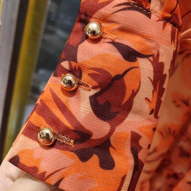 Twotwinstyle Vintag In Nữ Cổ V Đèn Lồng Tay Dài Cao Cấp Phối Ren Miếng Dán Cường Lực Peals Đầm Maxi Cho Nữ thủy Triều