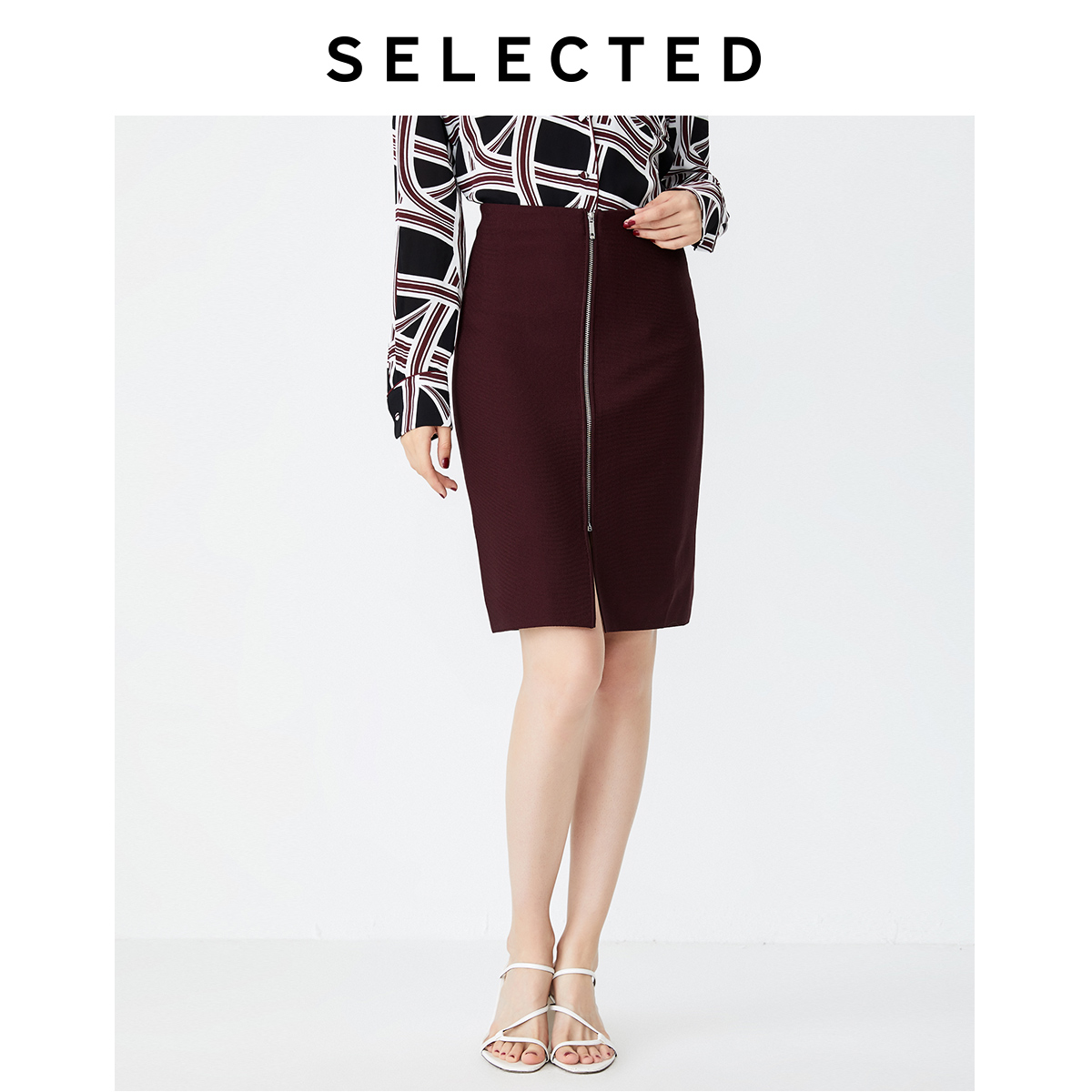 SELECTED Women's High-rise Hip-wrap Straight Regular Fit Hip Skirt S|41931J501