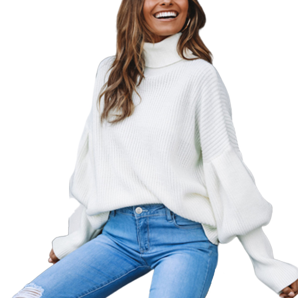 Womens Oversized Plain Knitted Long Sleeve Jumper Pullover V Neck Casual Sweater