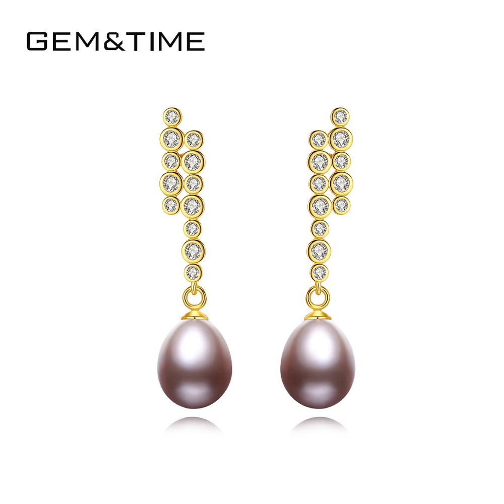 Gem&Time Authentic Freashwater Pearl With CZ Long Drop Earrings For Women 925 Sterling Silver Earings Natural Pearl Fine Jewelry(China)