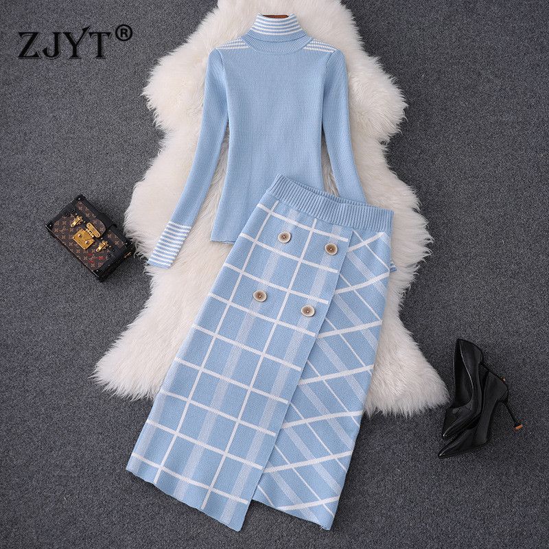 Top Brand Designer Women Sweater Skirt 2Pcs Set 2019 Autumn Winter High Neck Knit Top+Plaid Skirt Suit Set Lady Twinset