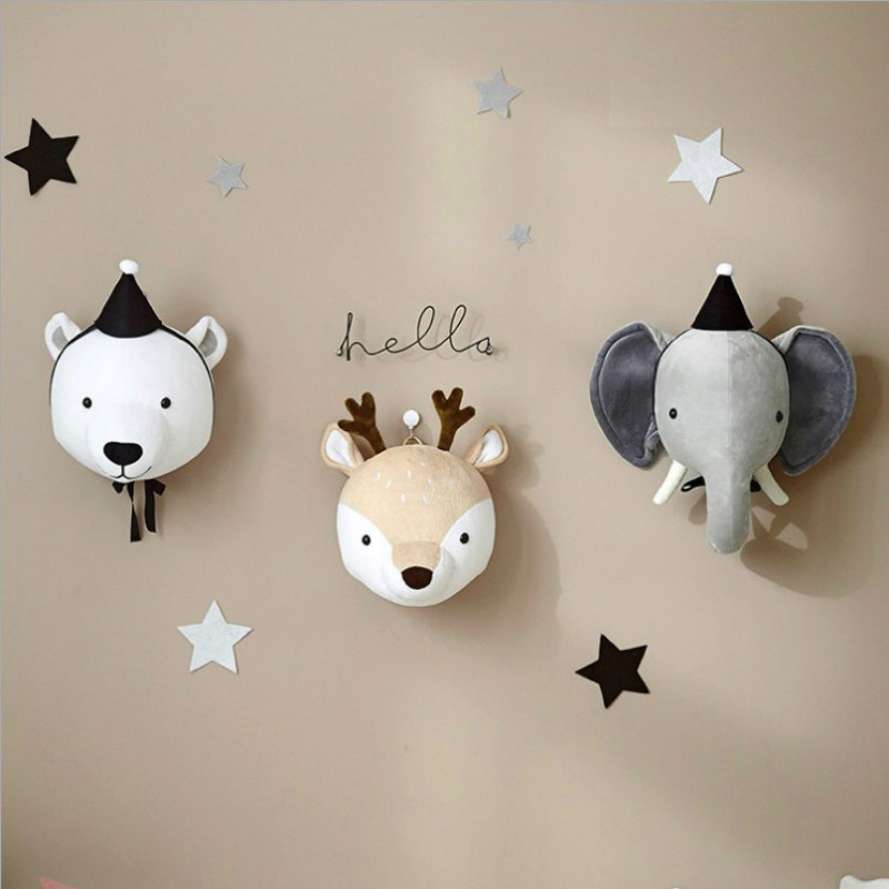 Kid Boy Animal Heads Wall Baby Princess Swan Head Birthday Room Decoration For Girls Tete Animaux Feutre Cygne Decoration Enfant