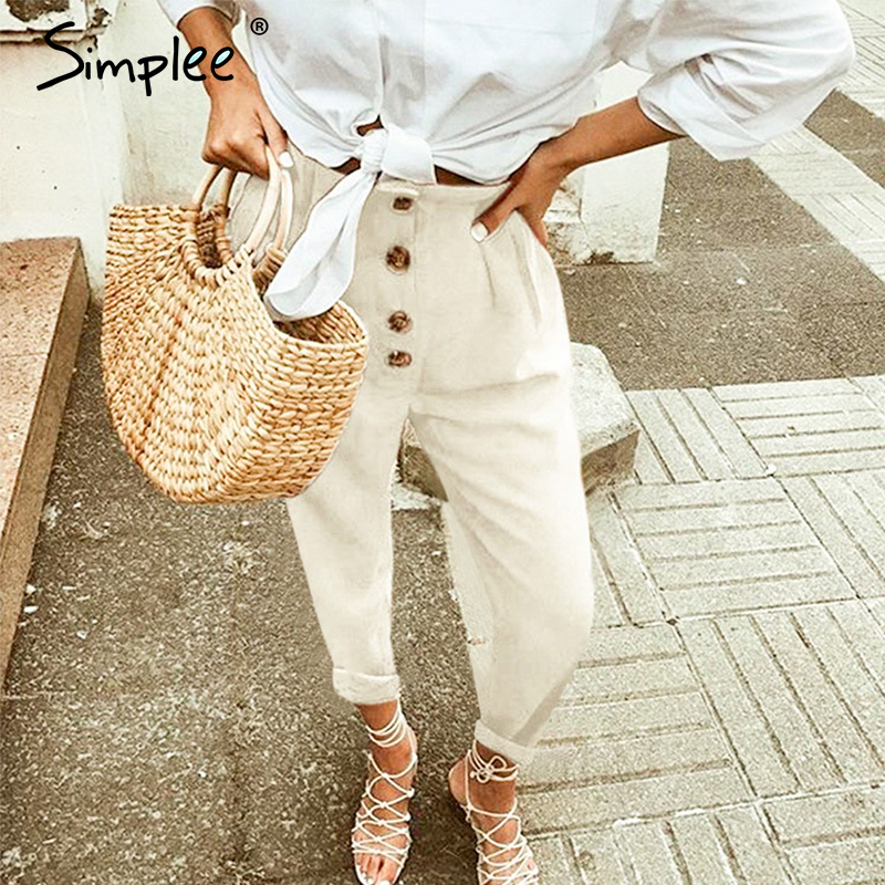 Simplee High Street Women Pants Black High Waist Casual Loose Pant Holiday Spring Summer Ladies Bottom Plus Size Chic Trousers