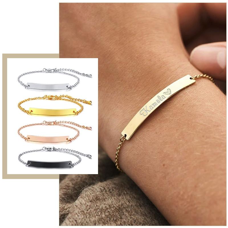 Elegante Personalisierte ID Bar Armbänder für Frauen 5mm Dünne Edelstahl Link Kette Custom Name Zitate BFF Armband Geschenk schmuck