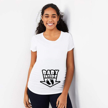 Tops T-Shirts Pregnancy-Weoman Clothing Short-Sleeve Funny Baby Plus-Size Casual Footprint