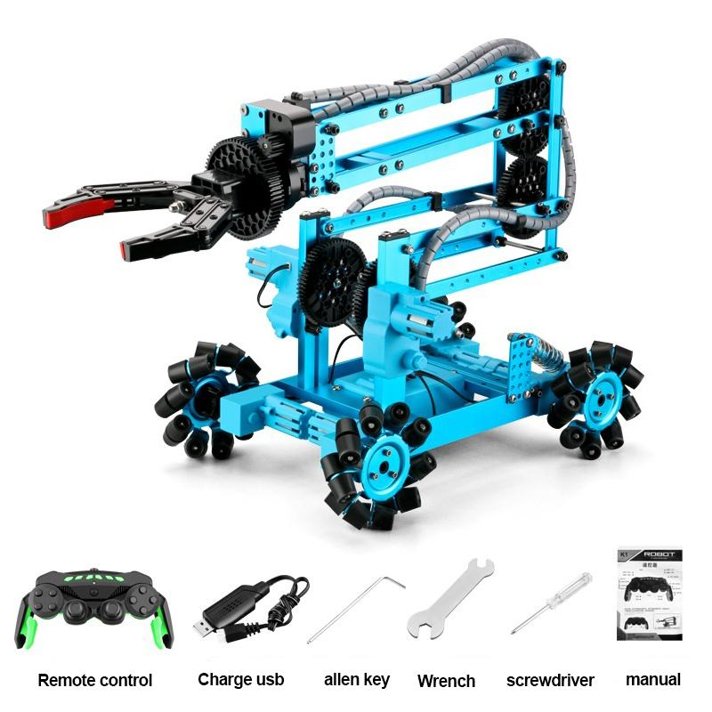 MoFun DIY K3 Self Installed 2.4G 4CH Remote Control Omnidirectional Wheel Mechanical Arm Long endurance RC Robot Car Toys Gift