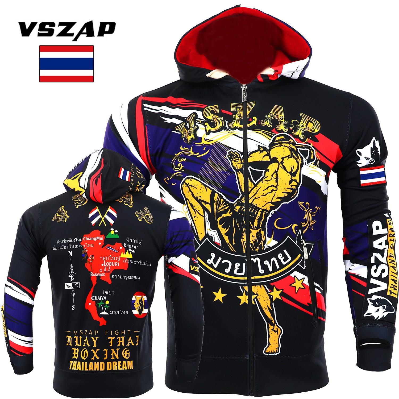 VSZAP Boxing Clothing Fall Muay Thai Hooded Fitness Zip Hoodie MMA Fighting Jacket Fighting Muay Thai Kickboxing Training Jacket