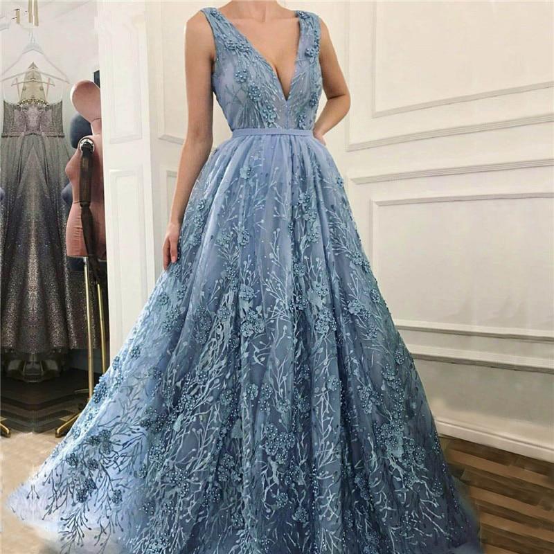Elegant Muslim Evening Dresses 2019 A-line V-neck Tulle Appliques Pearls Dubai Saudi Arabic Long Evening Gown Prom Dress