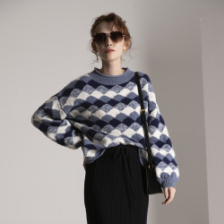 women's turtleneck cashmere wool sweaters pullover long sleeve plus size loose Female plaid knitwear 2020 Autumn Winter freeship