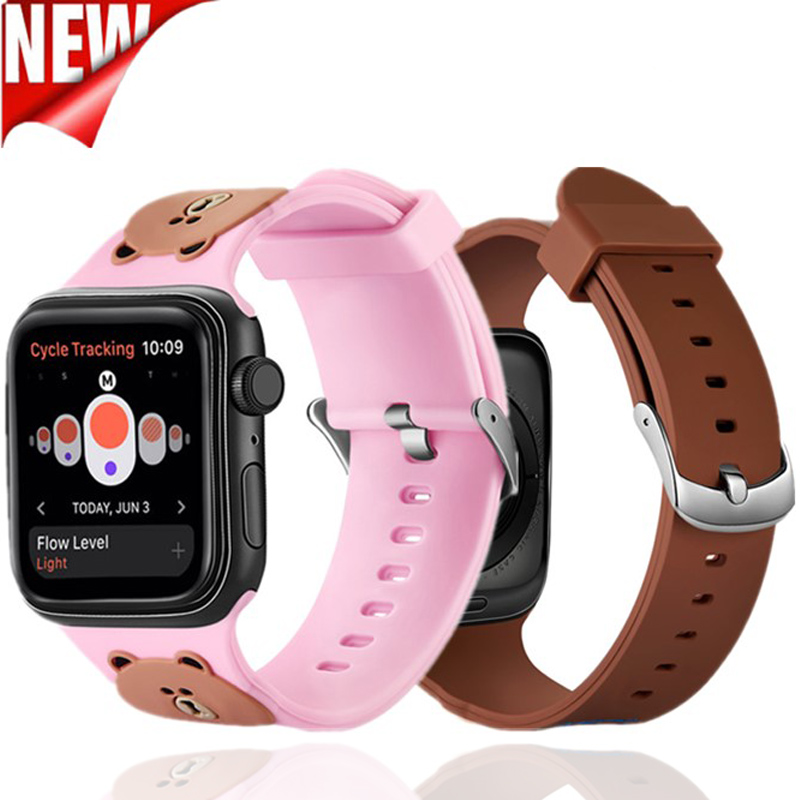 Lovely 3D Cartoon Soft silicone Sports strap for apple watch band 42 38mm Wristband Bracelet for iwatch 4 40 44mm Series 3 2 1 in Watchbands from Watches