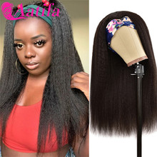 Headband Wig Kinky Straight Full-Machine 100%Human-Hair Remy-Hair Yaki Women Peruvian