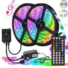 Bande de LED de 10m/20m rvb 12V avec la musique à distance 5050 Tira lampe à LED bande de néon de ruban Flexible allume la décoration pour la chambre à coucher de mur