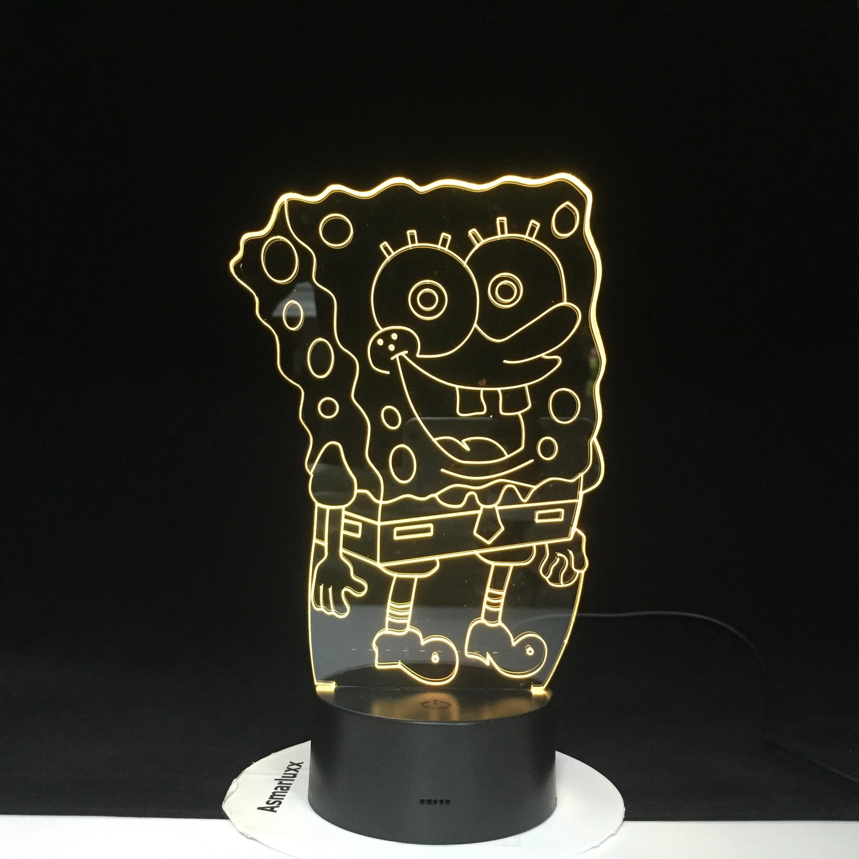 SpongeBob Night Light For Kids Bedroom 3AA Battery Powered Cartoon 3d Night Lamp For Children Cool Led Nightlight 2401