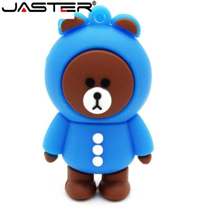JASTER Brown Bear Kony Rabbit Usb Flash Drive Pen Drive 4GB 8GB 16GB 32GB Cute Apron Bear Model USB 2.0 Flash Memory Stick
