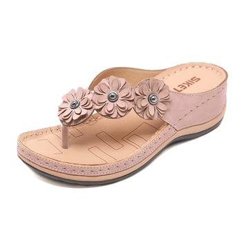 2020 letni płaski sandał dla kobiet 5 kolorów sandale Multicolor handmade retro kwiaty klapki damskie kapcie tanie i dobre opinie GSPAIRS CN (pochodzenie) Podstawowe Kliny Otwarta Niska (1 cm-3 cm) Na co dzień Slip-on Pasuje prawda na wymiar weź swój normalny rozmiar