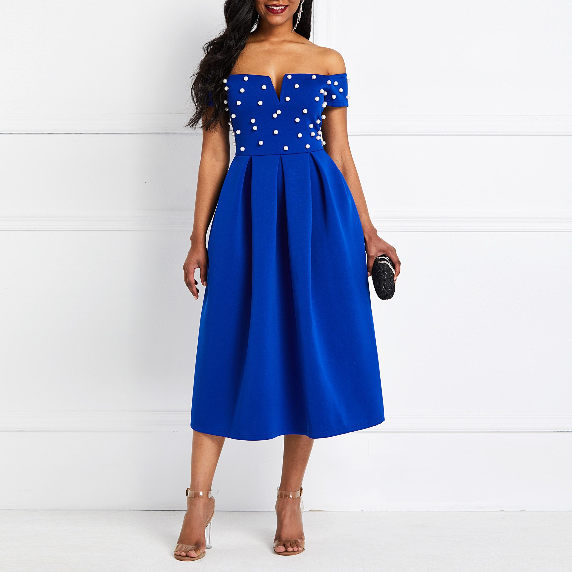 Sexy Off Shoulder Blue Elegant Evening Party Dress Women Beading Plus Size 4XL Club Midi Vestido Female African Fashion Autumn