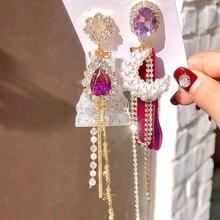 MENGJIQIAO Korean Fashion Asymmetric Pearl Moon Long Tassel Rhinestone Drop Earrings For Women Elegant Lace Brincos Jewelry Gift