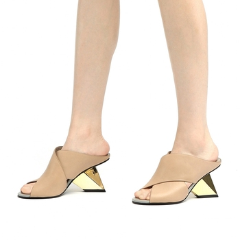 Brand New Genuine Leather Party Slipper Summer Woman Shoes Sandals Mules Pumps