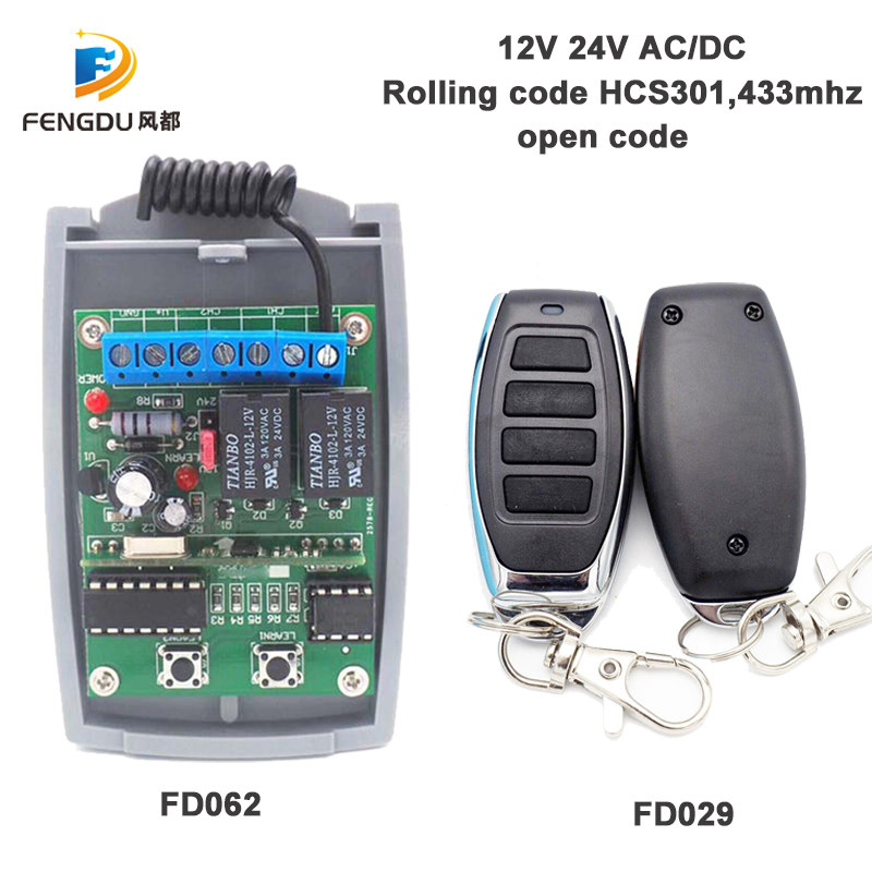 DC12V 24V 433MHz remote control receiver with rolling code HCS301 open code remote control garage gate