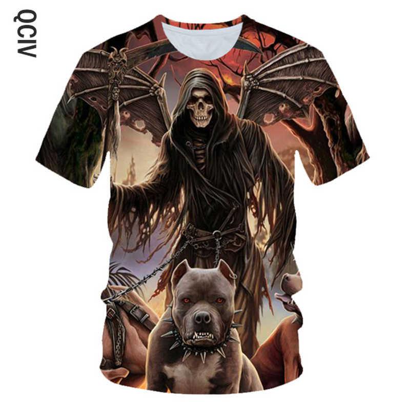 3D Angel T Shirt Pria Punk O Leher Hitam Lengan Pendek Musim Panas Lucu Sayap Cetak T Shirt Pria Wanita Hip hop Tengkorak Tshirt Streetwear