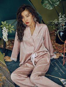 Image 4 - 2020 Sexy Spitze Pyjamas Set Silk Daisy Print Pyjamas für Frauen Pijamas Nachtwäsche Satin Set Nacht Anzug Nachtwäsche Nette Hause kleidung