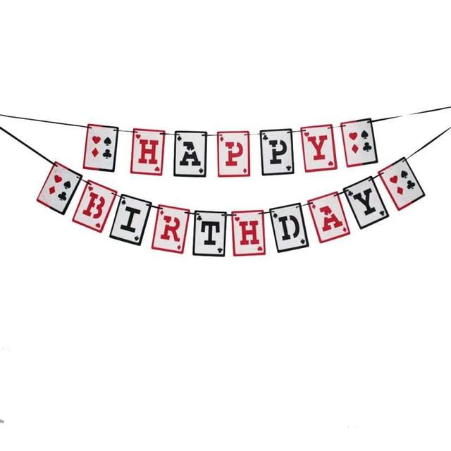 Poker Theme baner urodzinowy ozdoba na wierzch tortu Las Vegas kasyno nocne karty do gry jedna girlanda na dekoracja urodzinowa