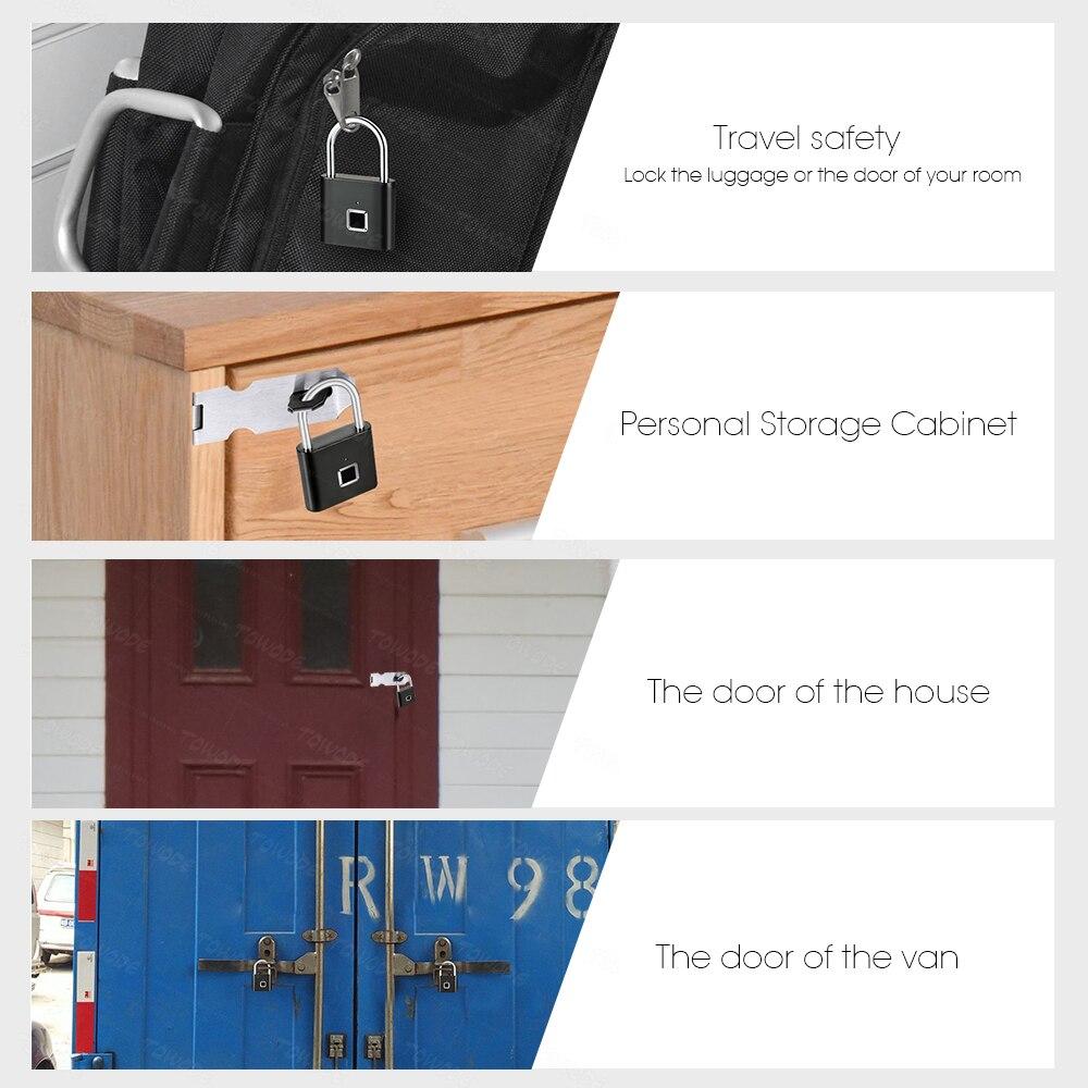 Towode Keyless USB Rechargeable Door Lock Fingerprint Smart Padlock Quick Unlock Zinc alloy Metal Self Developing Chip 4
