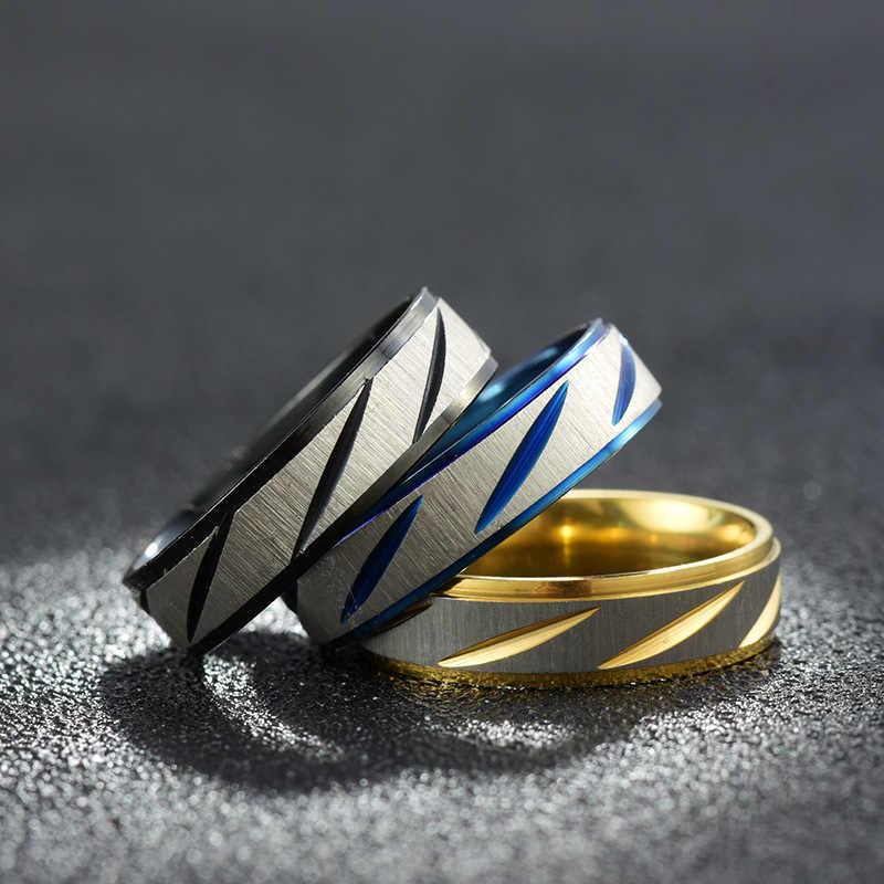 Drop Shipping Custom ชื่อกีฬาโลโก้ 8 มม.สีดำ/เงิน/ทองสแตนเลสสตีลแหวนปรับแหวนผู้ชาย
