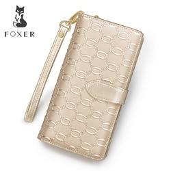 Carteras de cuero de vaca largas de marca de FOXER para mujer bolsos de mano de diseño famoso carteras de mujer Monedero de piel de vaca de moda para mujer