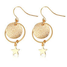 Matte Frosted star Circle Golden Clip & Hook Drop Earrings for Women Metallic Dangle Fashion Jewelry Gift WD512