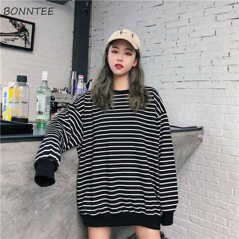 Hoodies Women Striped Korean Style High Quality Harajuku Loose O-Neck Womens Pullover Soft Thin Student Simple Female Sweatshirt