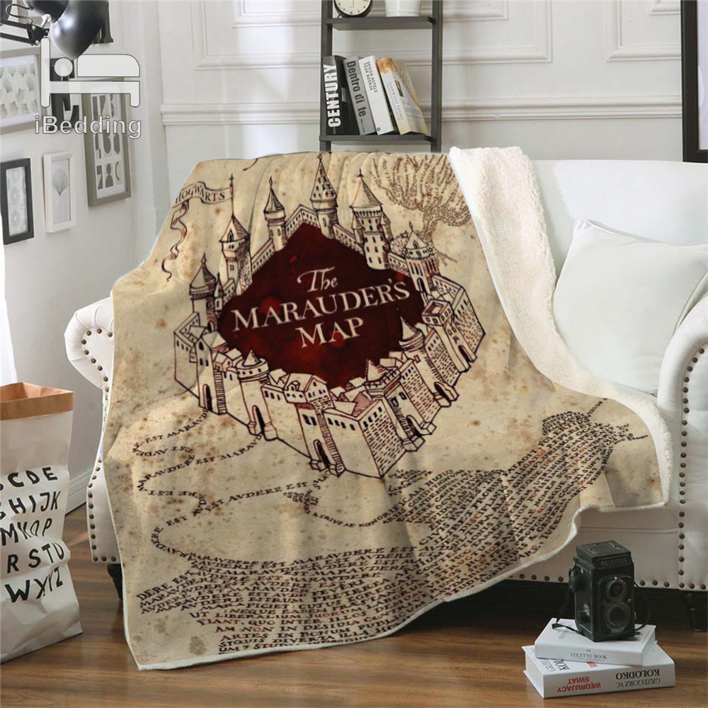 Hot Movie Cartoon Potter Classic Premium Throw Blanket Print on Demand Sherpa Blankets for Sofa Customized DIY Plush Thin Quilt-1