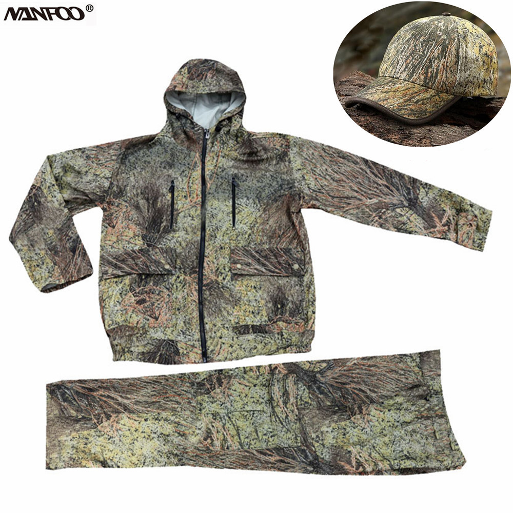 Spring Autumn Windproof Boinic Camouflage Hunting Fishing Suit Men's Outdoor  Hooded Jacket Pants Wear-Resistant Tactical Cloth.
